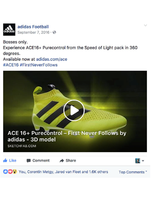 3d visualization in Facebook ad